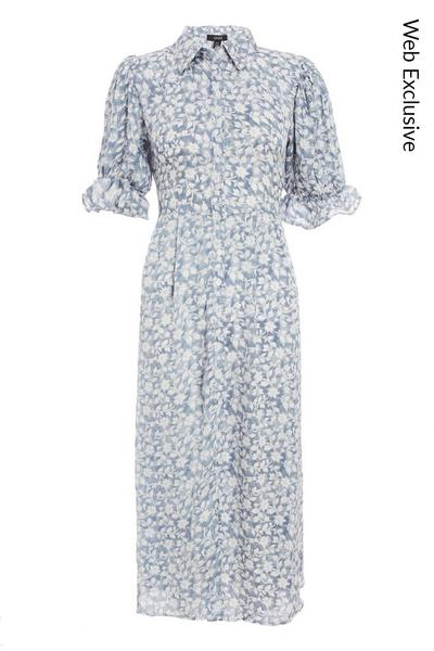 Blue Floral Midi Shirt Dress